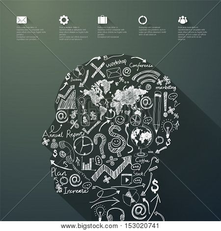 Vector Graphics Brain, Abstract background,business concept illustration design.