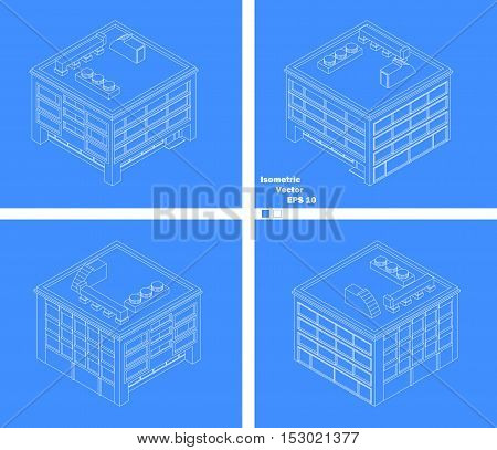 four-story building with four sides schematic drawing WENS blueprint