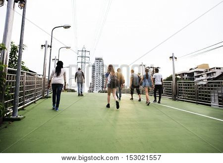People Friendship Togetherness Rear View Walking Skateboard Youth Culture Concept