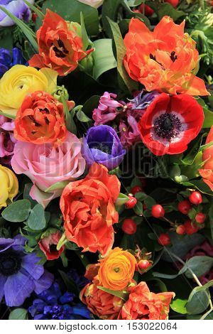 Mixed spring flowers in a colorful bouquet
