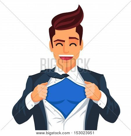 Handsome young man in a business suit wearing a tie with a white shirt. Vector illustration on white background. The concept of a successful businessman. Hero ripping off his shirt.