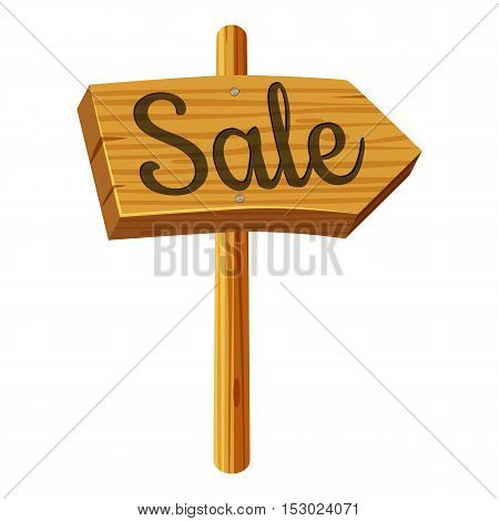 Wooden sign sale icon. Cartoon illustration of wooden sign sale vector icon for web