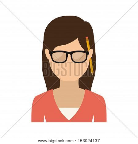 half body woman smiling with jacket vector illustration