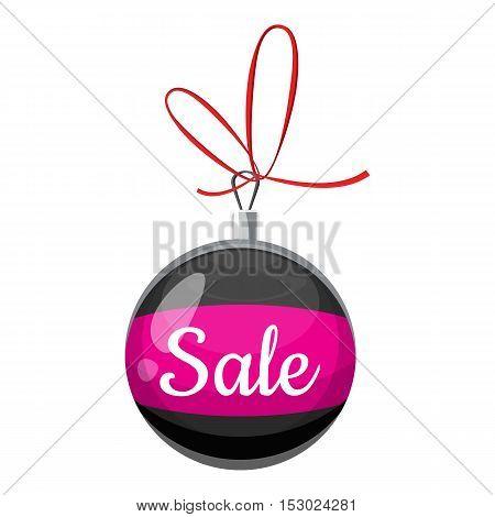 Christmas ball with sale icon. Cartoon illustration of christmas ball with sale vector icon for web
