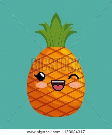 cute kawaii pineapple delicious icon design vector illustration eps 10