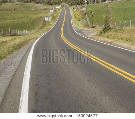 Road in the countryside in Virginia, square banner size