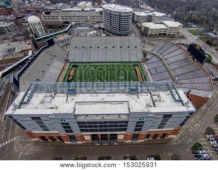 Iowa City, Iowa - April 2, 2016: Kinnink stadium in Iowa City, Iowa. Aerial view of Kinnick Stadium