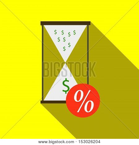 Hourglass with sale icon. Flat illustration of hourglass with sale vector icon for web