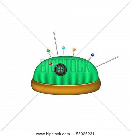 Pincushion in green design with needles and pins on white background