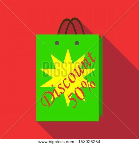 Package sale discount icon. Flat illustration of package sale discount vector icon for web