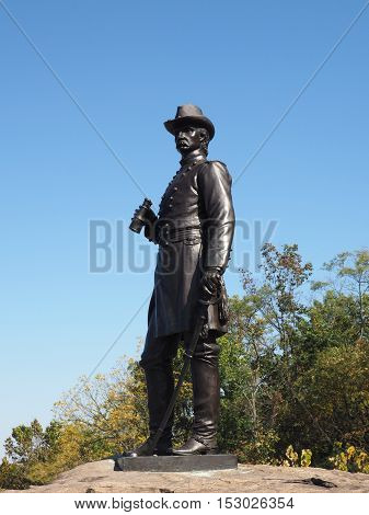 Gettysburg PA - October 15: General Warren statue at Little Round Top battlefield
