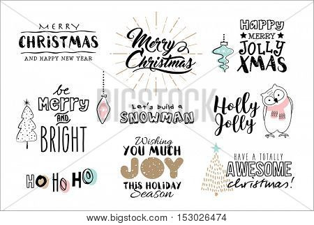 Set of Christmas typography and design elements