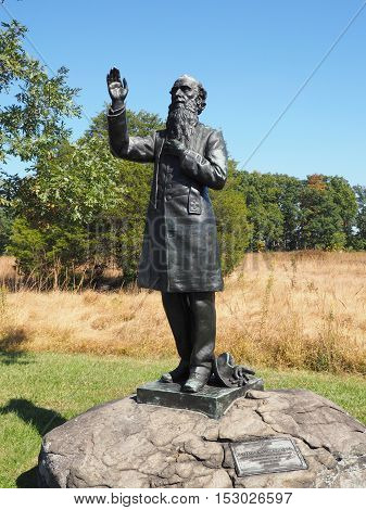 Gettysburg PA USA - October 15 2016: Father William Corby statue