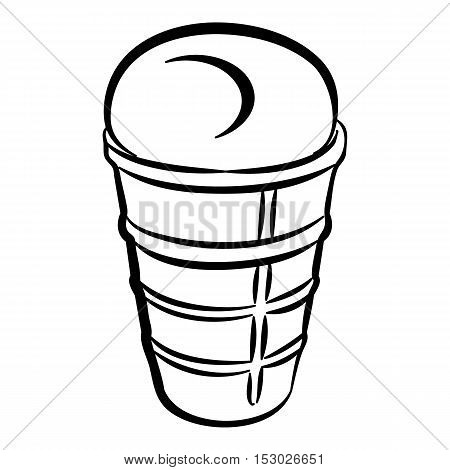 Sundae in glass icon. Outline illustration of sundae in glass vector icon for web