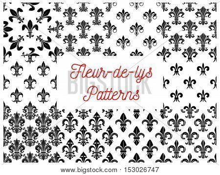 Heraldic seamless patterns of fleur-de-lys. Vectro pattern of black silhouette and outline royal french lily fleur-de-lis symbols on white background