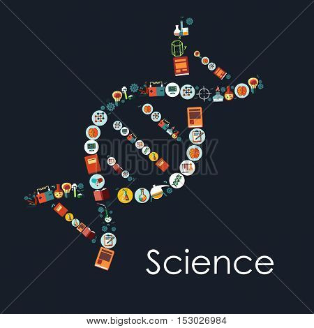 DNA icon shape with symbols of science. Vector scientific and medical objects atom, brain, formula, chemicals, dna, book, molecule, medicine