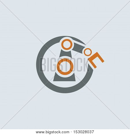 Gray-orange automation round vector icon with stylized robotic hand