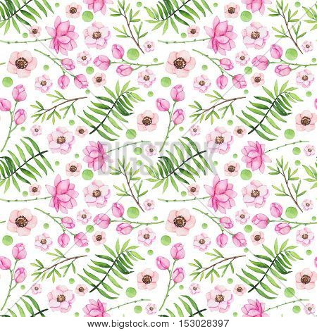 Shabby Chic Seamless Pattern with Watercolor Flowers and Leaves