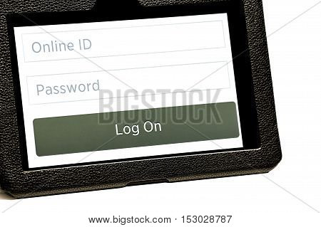 Tablet Screen Open To Log In Page