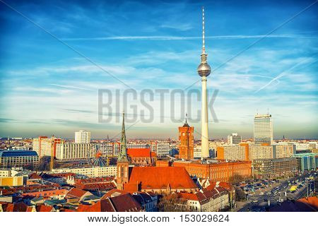 Aerial view on Alexanderplatz in Berlin, Germany