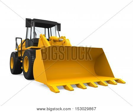 Wheel Loader Bulldozer isolated on white background. 3D render