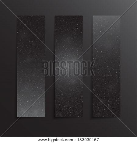 Vertical set of paper Black rectangle banners template for business design, infographics. Vector illustration eps10. Snow, blizzard, winter.