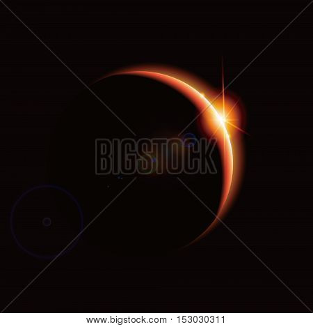 Eclipsethe backlight of the planet science illustration.