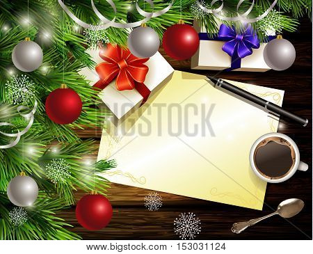 Christmas New Year design light wooden background with christmas tree and silver and red balls and wish list coffee teaspoon gift boxes and pen