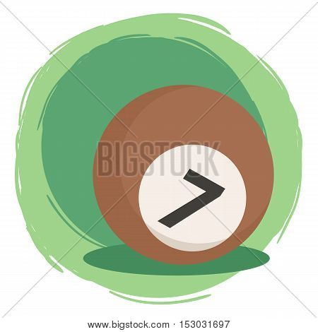 Brown Billiard ball number seven 7 isolated on green white background vector illustration.
