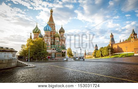 Saint Basil's Cathedral on Red Square in Moscow Russia