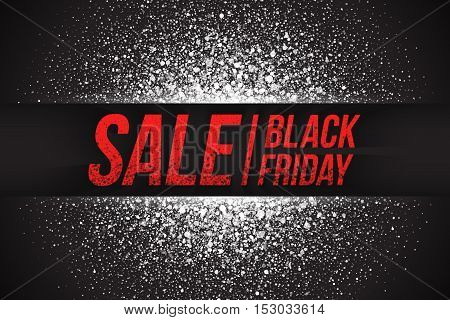 Black friday sale vector background. Illustration 3d dirty red letters for business, marketing and holiday. Abstract bright white shimmer glowing round particles. Scatter shine light explosion effect