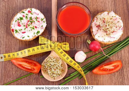 Freshly Sandwich With Vegetables And Centimeter, Tomato Juice, Healthy Nutrition