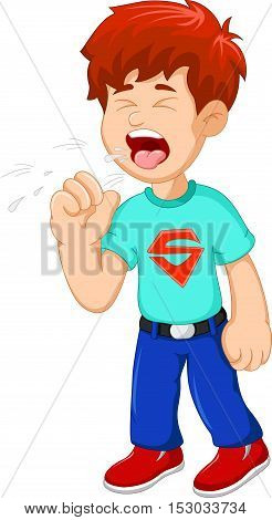 cartoon little boy coughing for you design
