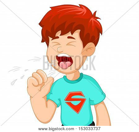 cute boy cartoon coughing for you design