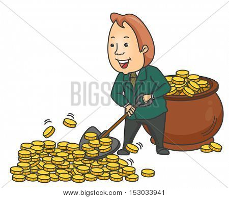 Illustration of a Businessman Happily Shoveling Gold Coins and Collecting Them in a Giant Pot