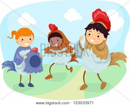Stickman Illustration of Kids Dressed as Chickens Hopping Around an Open Field