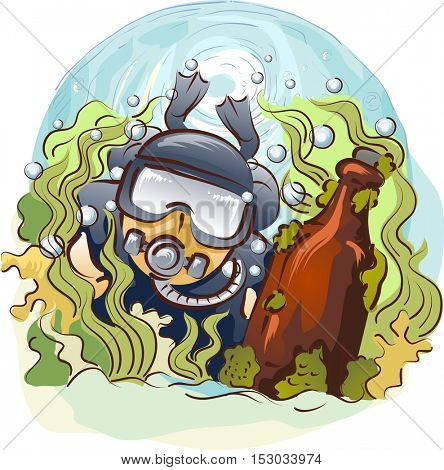 Illustration of a Man in Scuba Diving Gear Searching for Antiques in Deep Waters