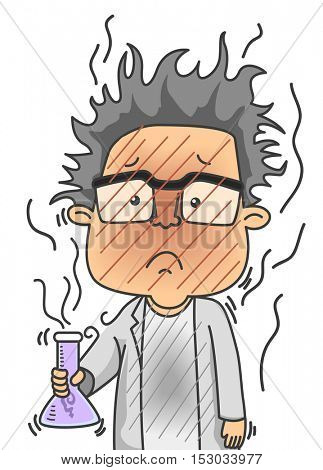 Illustration of a Man Dressed as a Scientist Looking Dirty After a Failed Chemical Experiment