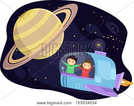 Stickman Illustration of Preschool Kids Observing the Planet Saturn from a Space Capsule