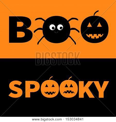 Word BOO SPOOKY text with smiling sad black pumpkin spider insect silhouette. Banner lettering set. Happy Halloween. Greeting card. Flat design. Orange baby background. Vector illustration