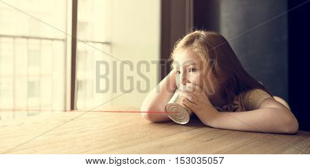 Girl Playing Toy Phone Concept
