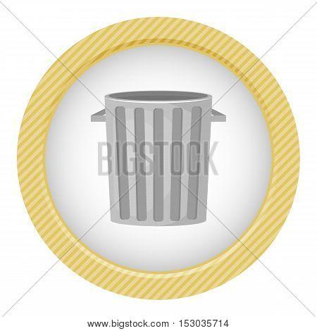 Trash bin colorful icon. Vector illustration in cartoon style