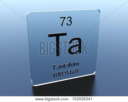 Tantalum symbol on a glass square 3D render
