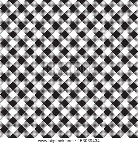 Black white checkerboard check diagonal fabric texture seamless pattern. Vector illustration.