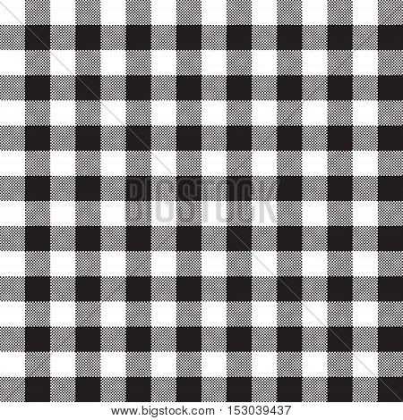Black white checkerboard check textile seamless pattern. Vector illustration.