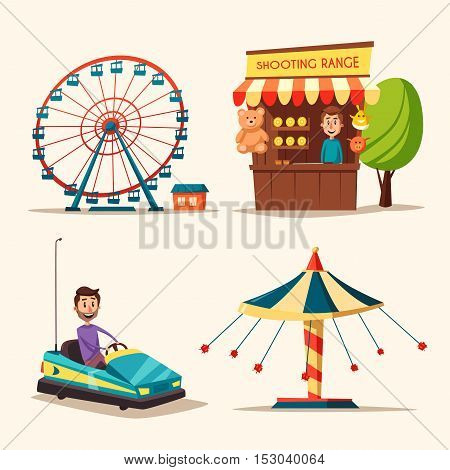 Amusement park theme. Cartoon vector illustration. Vintage style. Set of attractions. Icon collection. Funfair. Good emotions