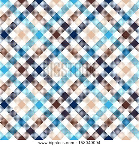 Blue beige diagonal check shirt seamless fabric texture. Vector illustration.