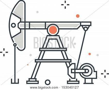 Color Line, Oil Pump Concept Illustration, Icon
