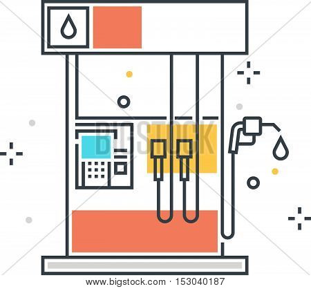 Color Line, Gasoline Station Concept Illustration, Icon