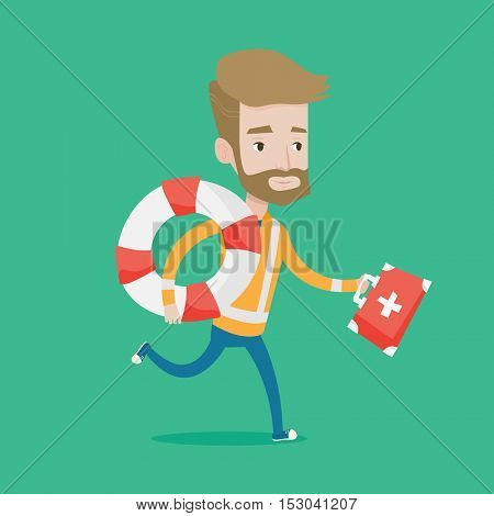 Hipster paramedic running with first aid box. Young caucasian paramedic running to patients. Emergency doctor running with first aid box and lifebuoy. Vector flat design illustration. Square layout.